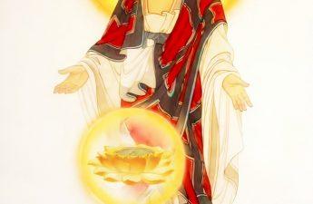 Đức Phật A Di Đà đón hoa sen