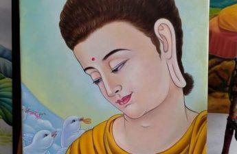 Tranh vẽ Đức Phật và chim