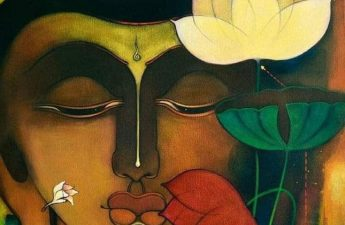 Tranh Phật và hoa sen