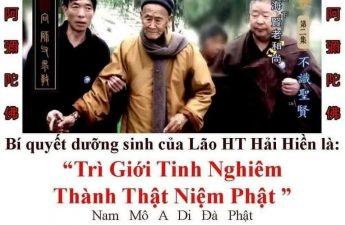 Bí quyết dưỡng sinh của láo HT Hải Hiền là Trì giới tịnh nghiệp - Thành thật niệm Phật