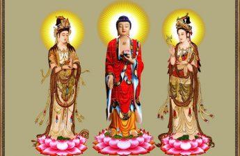 Tranh Tây phương Tam Thánh - Đức Phật A Mi Đà - Bồ Tát